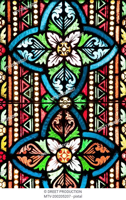 View of stained glass window in Mathias Church, Budapest, Hungary