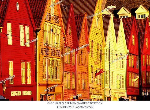 Houses in the old pier  Bryggen  Bergen  Hordaland Norway