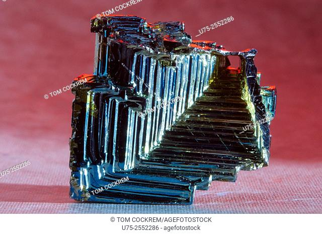 Bismuth crystal in studio setting