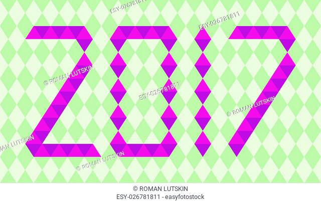 Purple numbers of year 2017 made from triangles on green background
