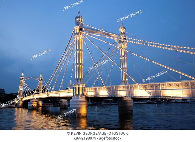 Albert Bridge (1873); Chelsea; London; England; UK illuminated at night