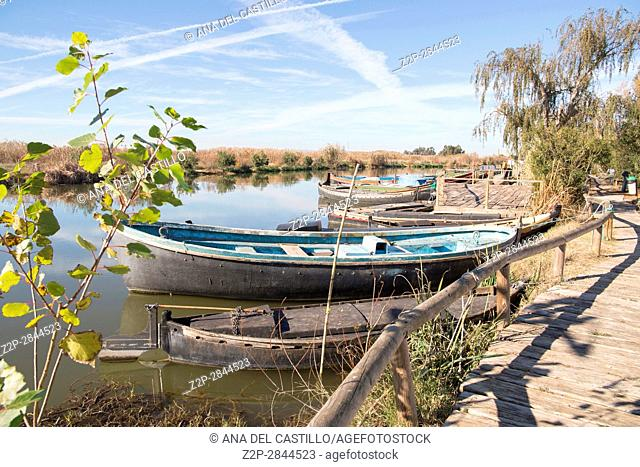 Typical fishing boats in Albufera nature reserve in Catarroja Valencia Spain