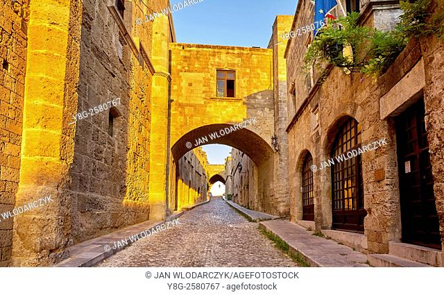 Street of Knights in Rhodes town, Dodecanese Islands, Greece, UNESCO