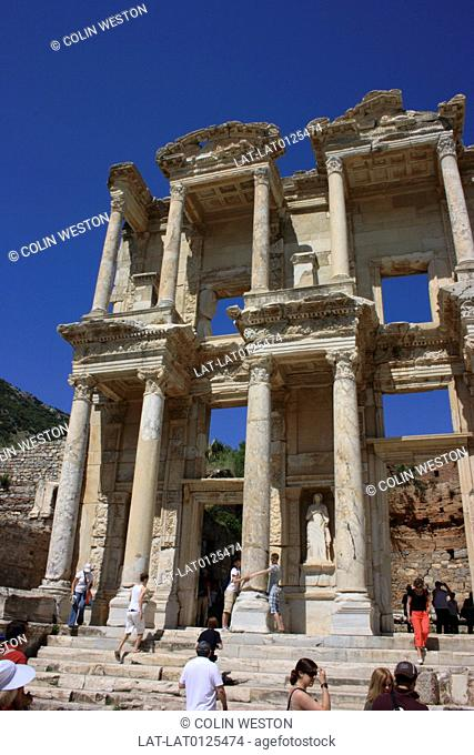 The library of Celsus was built in AD 135 in Ephesus,to store 12,000 scrolls and to serve as a monumental tomb for Tiberius Julius Celsus Polemaeanus