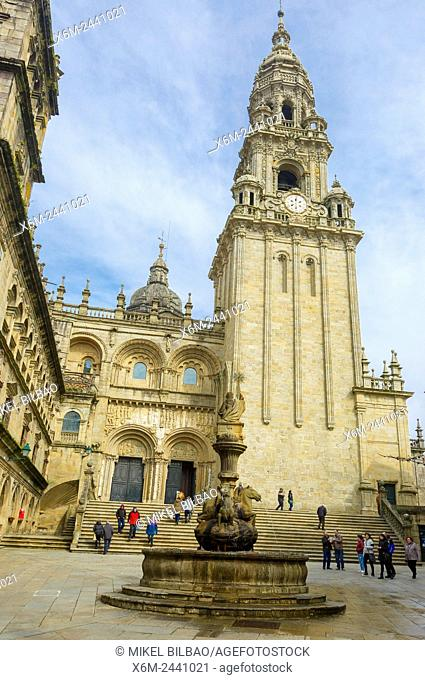 Cathedral. South facade from the square of the Pratarias. Santiago de Compostela. La Coruña, Galicia, Spain, Europe