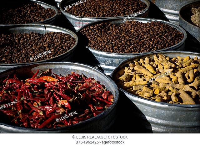 metal cubes with coffee and spices in bulk in a market in Fez, Morocco, Africa
