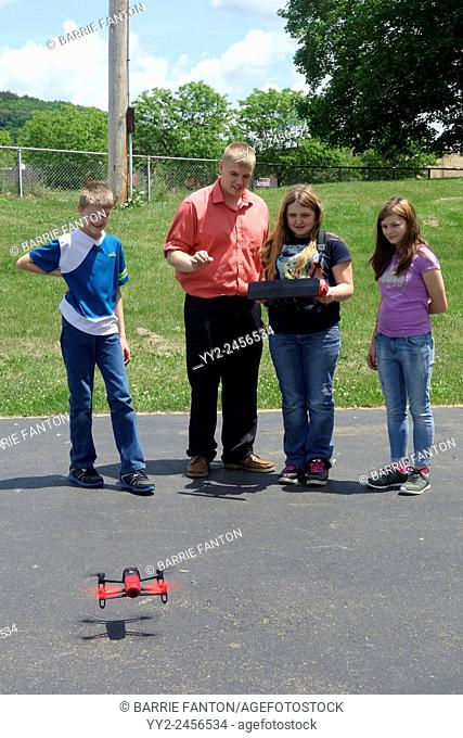 Students Learning to Flying Drone, Wellsville, New York, United States