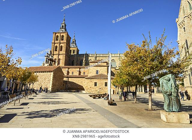 View of the Cathedral of Santa Maria from the Eduardo de Castro Square in Astorga, Way of St. James, Leon, Spain