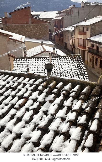 Snow on the roof in a village