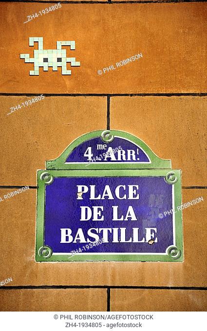 Paris, France: Ceramic tile 'graffiti' by unknown street artist Space Invader, in Place de la Bastille [August 2012]
