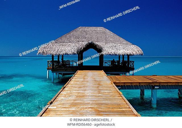 Jetty on Maldivian Island, Indian Ocean, Medhufushi, Meemu Atoll, Maldives