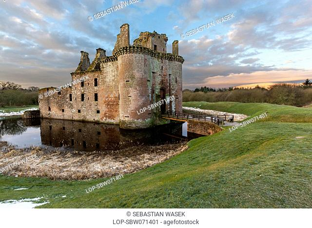 Scotland, Dumfries, Caerlaverock. A view towards Caerlaverock Castle