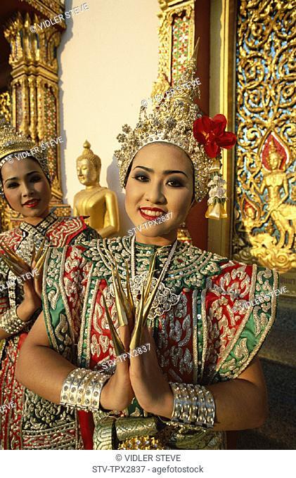 Asia, Bangkok, Costume, Dancing, Girl, Holiday, Landmark, Model, Released, Thailand, Tourism, Traditional, Travel, Vacation