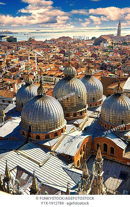 St Marks' Basilica roof from the Campinal of St Marks, Venice, Italy