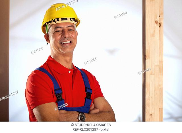 Smiling Construction worker helmet hard hat site