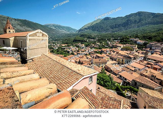 Looking across the rooftops of the little town of Maratea, above the Tyrrhenian coast of Basilicata, Southern Italy