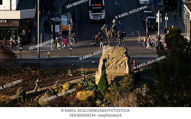 Aerial View of Princes Street in Edinburgh, Scotland, United Kingdom