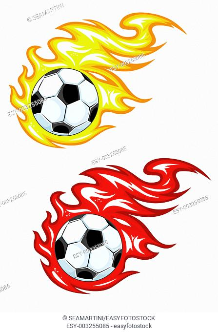 Football balls in yellow and red fire flames