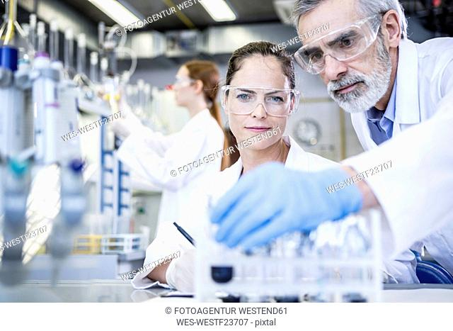 Scientists in lab examining samples