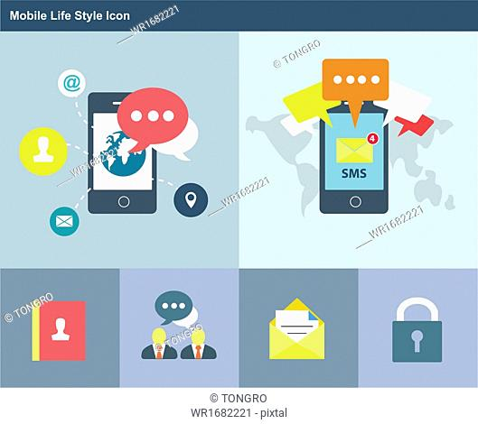 a set of mobile life style icons