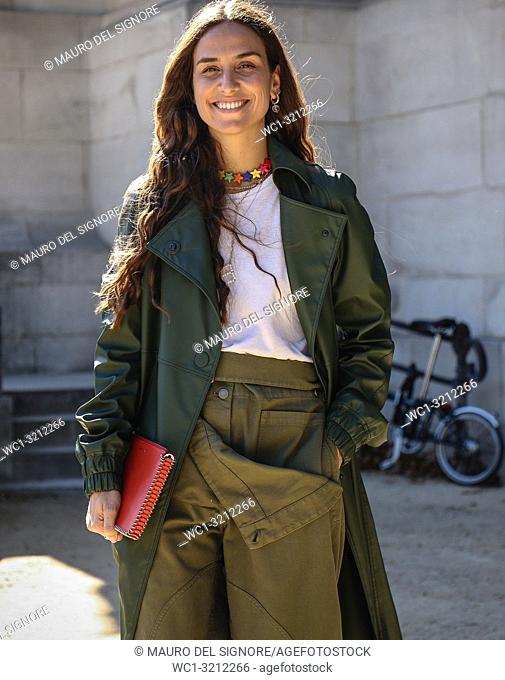 PARIS, France- September 27 2018: Erika Boldrin on the street during the Paris Fashion Week