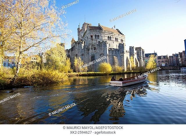 Boat trip in autumn in front of Gravensteen, Ghent, Belgium
