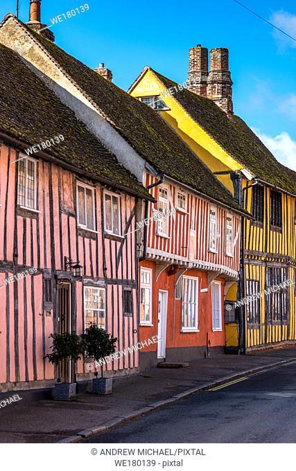 Half-timbered medieval cottages, Water Street, Lavenham, Suffolk, England, United Kingdom