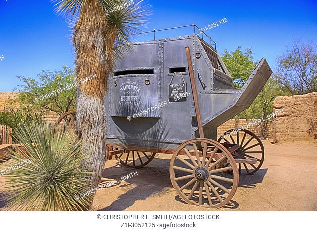 Armored stagecoach at the Old Tucson Film Studios amusement park in Arizona