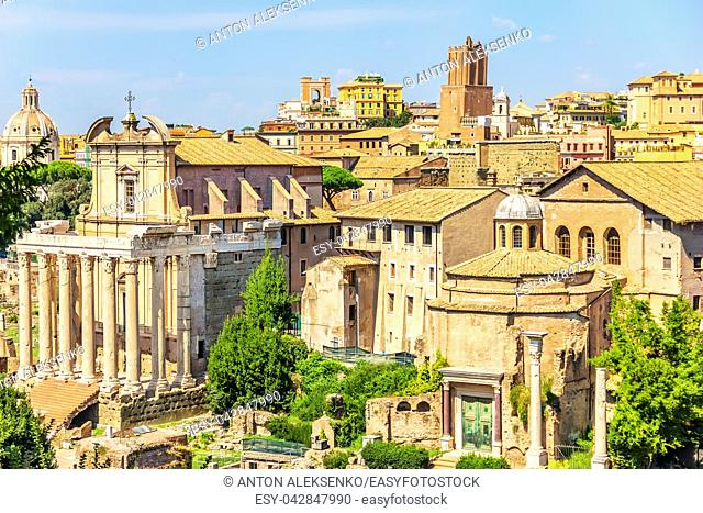The Temple of Antoninus and Faustina, the Church of the Third Order Regular of St. Francis of Penance and the Temple of Romulus