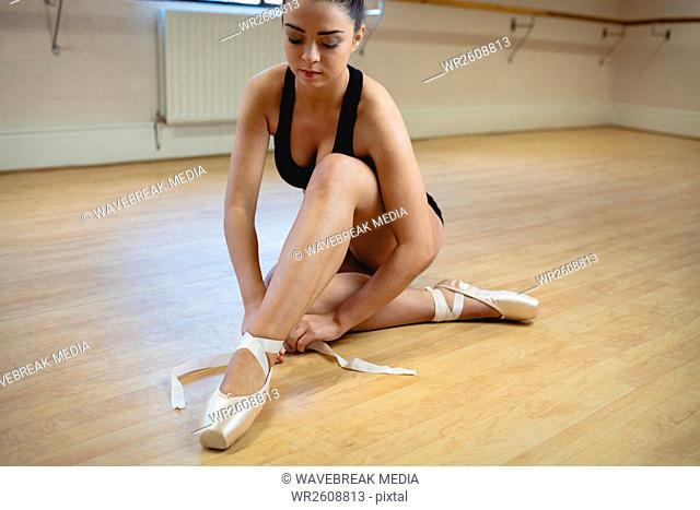 Ballerina wearing ballet shoes