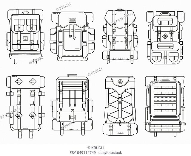 Hiking backpack set in thin line design. Tourist retro backpacks outline vector illustration. Classic styled camping backpacks with sleeping bags