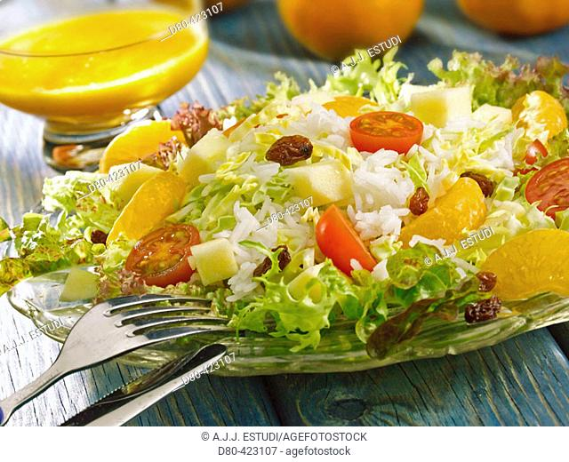 Rice and tangerine salad