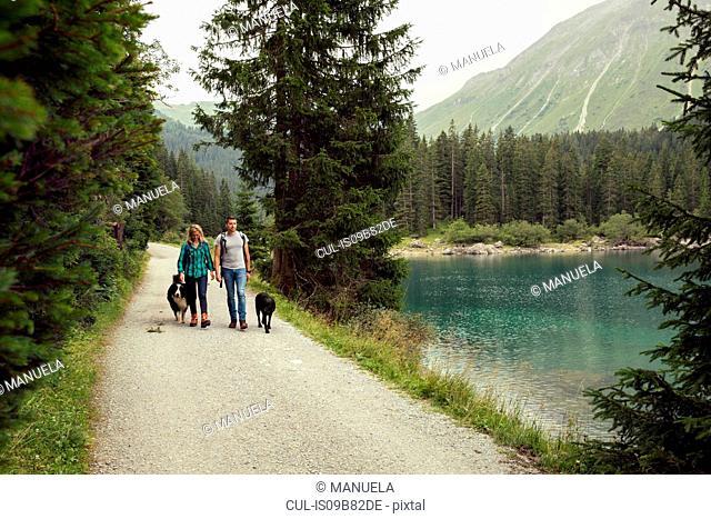 Couple with dogs hiking by lake, Tirol, Steiermark, Austria, Europe