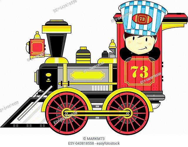 Cartoon Vintage Style Wild West Train with Cute Driver Vector Illustration