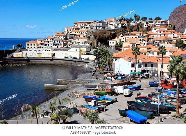 port and fishing boats in the city of Câmara de Lobos, Madeira, Portugal, Europe