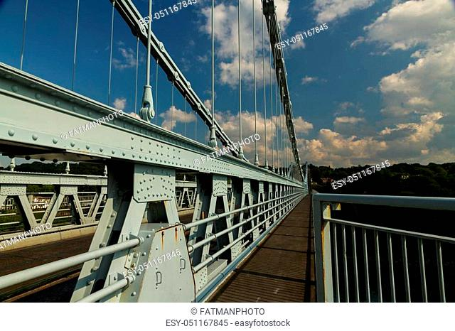 Hyperfocal image of the Menai bridge by Thomas Telford. Crossing the mania Straits between island of Anglesey and mainland Wales