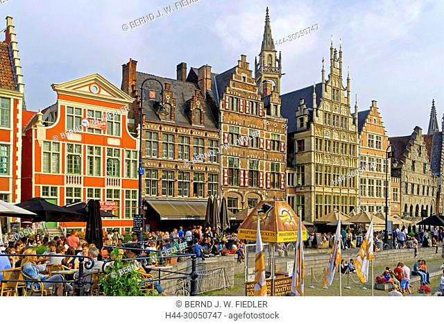 Bank promenade, river, Leie, house line, historically, Ghent Belgium