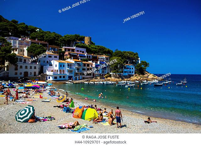 Spain, Europe, Catalonia, Girona Province, Costa Brava Coast, Begur, Sa Tuna Beach, architecture, beach, blue, boats, coast, Costa Brava, girona, holidays