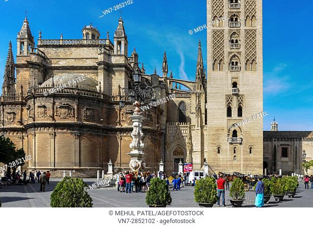 Seville Cathedral (Catedral de Sevilla) and the base of the bell tower, La Giralda - Seville, Andalucia, Spain