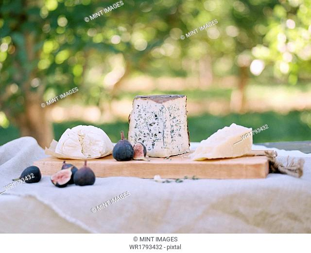 An apple orchard in Utah. A table with food, a cheese board