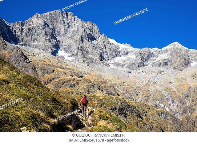 France, Hautes Alpes, Ecrins National Park, La Chapelle en Valgaudemar, hike to lake Lauzon (alt : 2008m), Les Rouies (alt : 3589 m) in the background