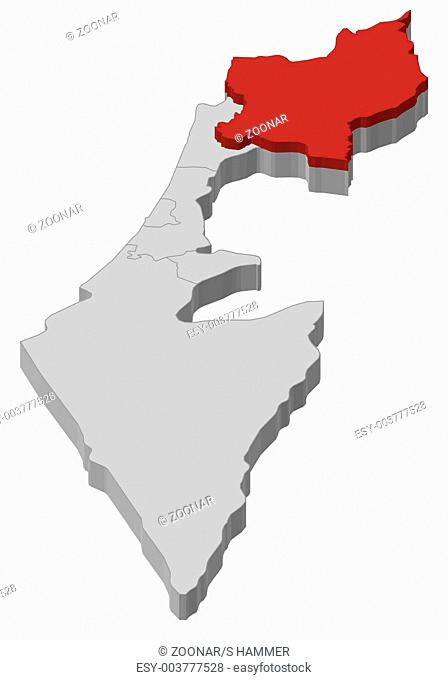 Map of Israel, Northern District highlighted