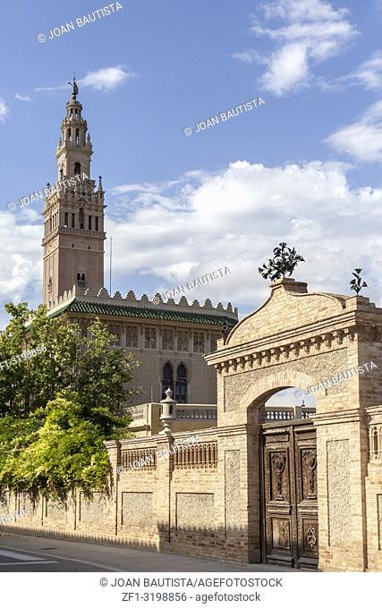 Architecture, half-scale replica of The Giralda in Sevilla in village of Arbos, penedes area, province Barcelona,Catalonia