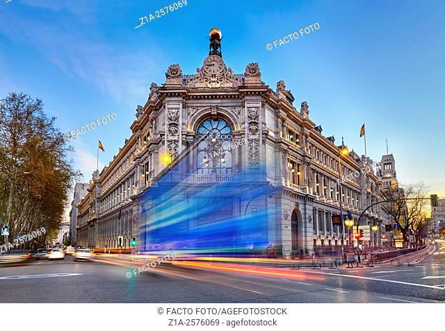 Bank of Spain facade at Cibeles square. Madrid. Spain