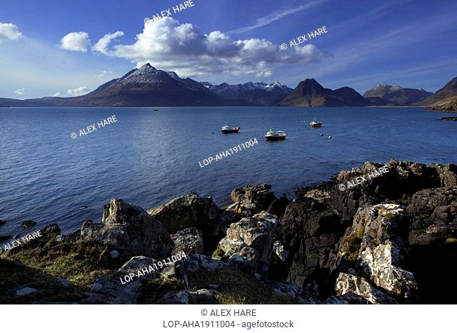 Scotland, Isle of Skye, Elgol. A view across Loch Scavaig towards the Cuillin ridge on the Isle of Skye