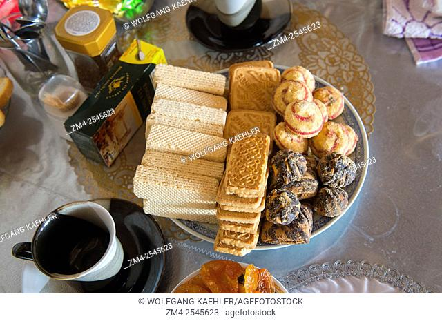 A Kazakh traditional lunch with baked goods at a home in the city of Ulgii (Ölgii) in the Bayan-Ulgii Province in western Mongolia