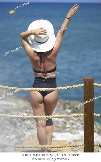 Woman at beach. Crete, Greece