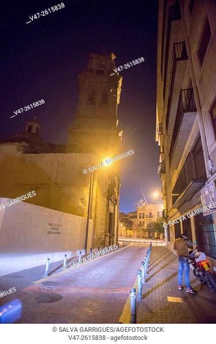Night photography street Virgen de Belen's old town Almansa, in the background the Church of the Assumption, Almansa, Albacete, Castilla La Mancha, Spain