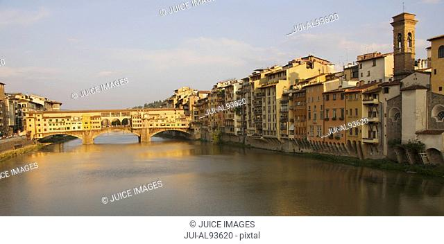 View to Ponte Vecchio in evening, Florence, Italy