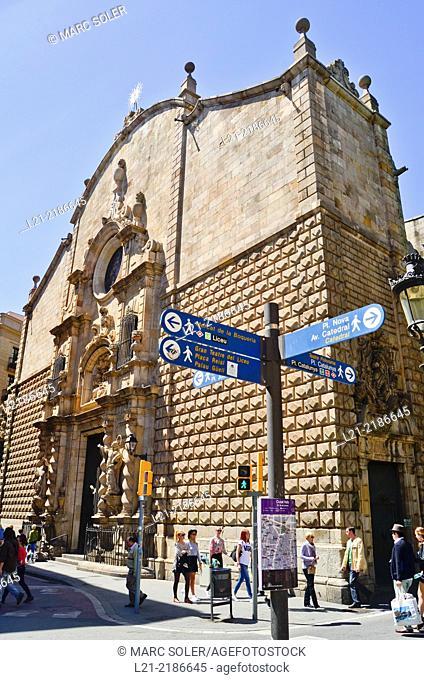 Church of Mare de Deu de Betlem, Baroque style. La Rambla, Barcelona, Catalonia, Spain